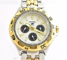Fossil Blue Men's Two Tone Quartz Watch Stainless Steel Day Date