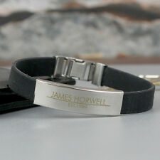 Personalised Engraved Mens Rubber & Steel Bracelet - Birthday Gift For Him