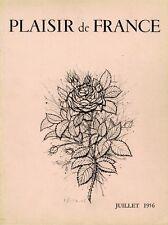 """""""PLAISIR DE FRANCE JUILLET 1956"""" Couverture originale entoilée CARZOU  28x35cm"""