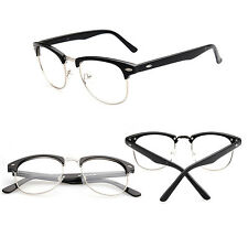 NEW HALF RIMMED GEEK GLASSES RETRO MENS WOMEN VINTAGE CLEAR LENS FASHION