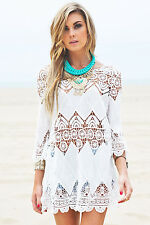 Bohemian Crochet Beach Tunic LC41507 women top dress summer casual new fashion