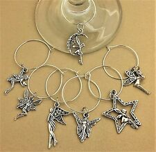 FAIRY Wine Glass Charms SET OF 8 SILVER FAIRIES