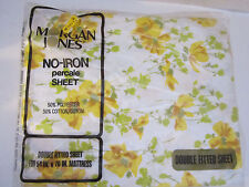 Vintage Bed Sheet Double Fitted Morgan Jones No Iron Muslin. Yellow Flowers