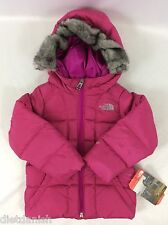 The North Face Toddler GIRL'S Gotham Jacket Luminous Pink Fur Hoodie Size 2T