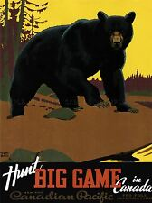 TRAVEL BEAR HUNTING CANADIAN PACIFIC CANADA VINTAGE ART POSTER 947PYLV