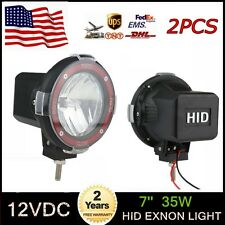 2pcs 7inch 12V 35W Spot Beam Xenon HID Circle Offroad Mount Tractor Boat 4WD CAR