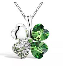 NEW Green Emerald Lucky Four Leaf Clover Heart May Birthstone Pendant Necklace