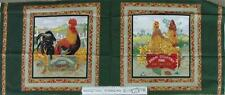 Patchwork Quilting Sewing Fabric HENS CHICKENS ROOSTER Cotton Cushion Panels ...