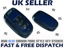 Audi A4 A5 S4 S5 8K RS Q5 BLUE Carbon Fibre Caron Fiber Car Key Sticker Decal