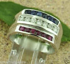 1.25 CT MEN'S DIAMOND SAPPHIRE RUBY RING ALL-AMERICAN 14k white gold made in USA