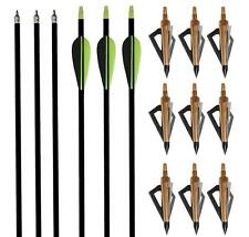 """12X Archery Fiberglass Arrows 31"""" & Field Tips & Broadheads 125Grain Hunting Bow"""