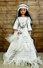 "Hand Crocheted Native American Indian Ceremony Dress w/ Beads 15"" Doll & Stand"