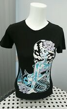 WOMENS EMO PUNK TOO FAST SUGAR SKULL SKELETON MERMAID T-SHIRT SLASH BACK SMALL