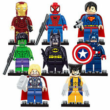 8pcs Super Hero Hulk Captain America Super man Batman Custom Lego Mini Figure