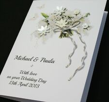 LARGE Handmade Personalised BEAUTIFUL BOUQUET Congratulations Wedding Card