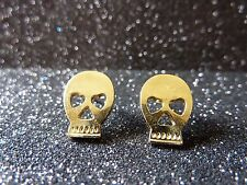 HALLOWEEN Skull Earrings,Skull,Gold Coloured,Gift,Studs,Fashion Jewellery,Fun!