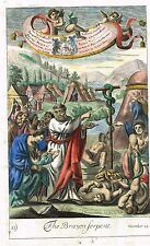 """Blome's Bible History- """"THE BRAZEN SERPENT"""" - Hand-Colored Engraving -1701"""