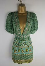 Monsoon Green 100% Silk Party Evening Holiday Occasion Top Size 12