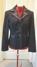 MOSCHINO JEANS JACKET BLAZER GRAY EMBROIDERED SIZE 10 USA OR 44