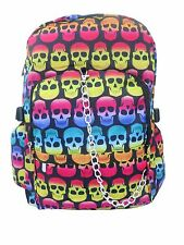 SKULL Multi Colour Backpack Rucksack School College Goth Emo Rock Punk Bag