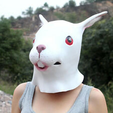 White Creepy Rabbit Head Face Animal Costume Halloween Party Prop Carnival Mask