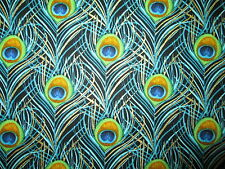 PEACOCK FEATHERS PACKED METALLIC GOLD BLACK FEATHER COTTON FABRIC FQ