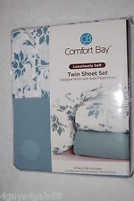 TWIN SHEET SET Comfort Bay FITTED Flat PILLOWCASE Light Teal Floral SOLID 3 pc