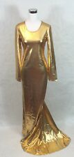 Drag Queen Stage Parade Gold Shine Gown Dress Plus Size with Train 1X 2X 3X