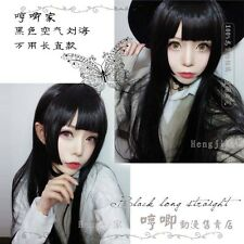 Japanese Harajuku Sweet Lolita Daily Cosplay Black Straight  Cute Princess Wig #