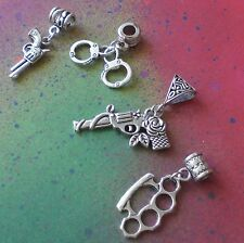 4 Euro Style Charms Weapons Brass Knuckles Guns Handcuffs Set European Bead