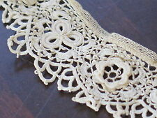 Vtg Antique Handmade Irish Crochet 3D Lace Trim Tiny Clones Victorian Edwardian