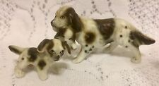 Vtg Cocker Spaniel Dog Pups Mother Puppy Bone China Miniature Porcelain Figurine