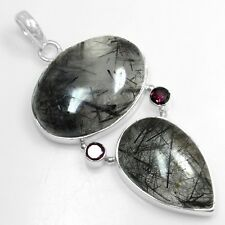 12.15 Gm 925 Sterling Silver Natural Black Rutile Red Garnet Pendant Top Jewelry
