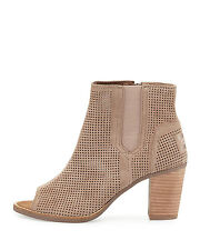 Authentic TOMS Beige Majorca Perforated Suede Bootie, Women Size  5