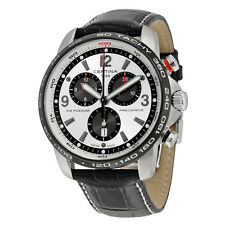Certina DS Podium Big Size Chronograph Silver and Black Dial Black Leather