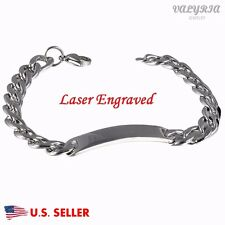 Personalized Engraved Medical Alert ID Bracelet Curb Chain Name ID Tag 8.6''