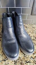 Sam Edelman 'Margot' Pewter Silver Leather Flat Ankle Boots Women's Size 9.5M