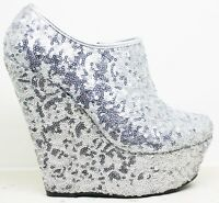 WOMENS LADIES ANKLE PLATFORM HIGH HEEL SILVER SEQUIN ZIP WEDGES SHOES BOOTS