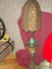 RARE Antique Mediterranean PEDESTAL FLOOR LAMP wth Brass Shade Turquoise Accents