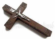 Catholic Carved Wooden Wall Small Cross Crucifix with *JESUS CHRIST*