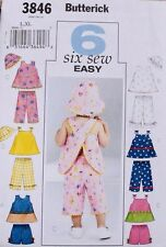 TOP *SHORTS *PANTS *HAT Butterick Pattern 3846 NEW Size Baby/Infant/Girl Lrg-XL