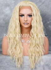 Pale Blonde  HEAT SAFE Lace Front Wig Wispy Wavy Long Layered NGFT 613