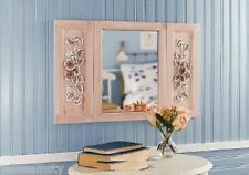 3D Floral Impression Panel Vintage Window Shaped Wall Mirror Accent Decor
