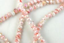 "16"" Str. 8mm Chinese Crystal Glass Beads Faceted Rondelle White Mixed Agates"