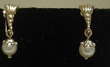 18K Yellow Gold W/ Salt Water Cultured Pearl Screw Back Earrings-WOW!! N347-Z