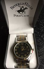 Beverly Hills Polo Club Men's Quartz Watch Gold And Silver, Black Face - New