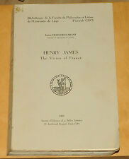 Henry James The Vision of France  1970  Bibliotheque de la faculte philosophie