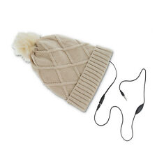 WINTER HAT DIAMONDS CAPPELLO ALLA MODA CON CUFFIE AURICOLARI LETTORE MP3 BEIGE