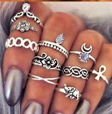 10 pieces Retro Antique Silver Boho Arrow Moon Midi Finger Knuckle Rings Holiday