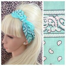 MINT GREEN PAISLEY COTTON BANDANA HEAD HAIR NECK SCARF RETRO ROCKABILLY PIN UP